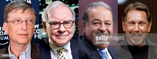 The top four Forbes 2009 billionaires from left Bill Gates founder of Microsoft Corp Warren Buffett chairman of Berkshire Hathaway Inc Carlos Slim...