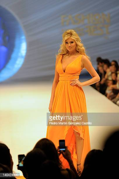 The top model Kate Upton walks the runway during parade of Spring - Summer 2012 at Department Store Liverpool on March 01, 2012 in Mexico City,...