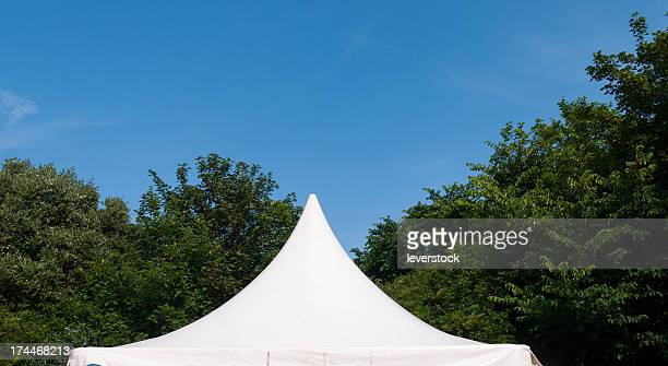 The top of a tent in a field