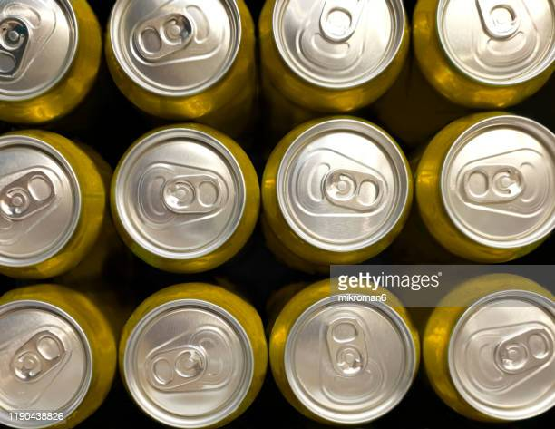 the top of an aluminum drink cans - closed stock pictures, royalty-free photos & images