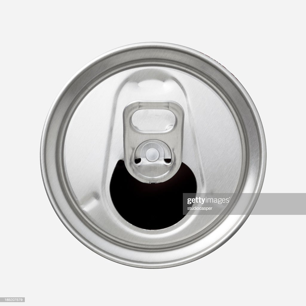 The top of an aluminum soda can with the ring pull showing : Stock Photo