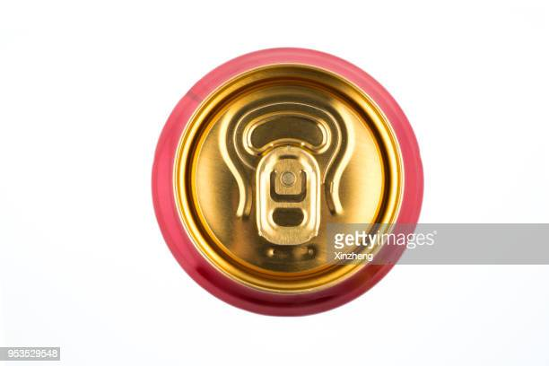 the top of an aluminum soda can with the ring pull showing - tin can stock pictures, royalty-free photos & images