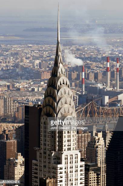The top of the art deco Chrysler building in midtown Manhattan New York City, that was built in 1930 and was the Worlds tallest building at 1,046ft...