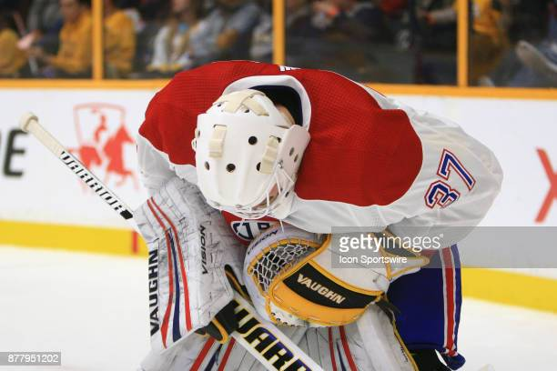 The top of the helmet of Montreal Canadiens goalie Antti Niemi is shown during the NHL game between the Nashville Predators and the Montreal...