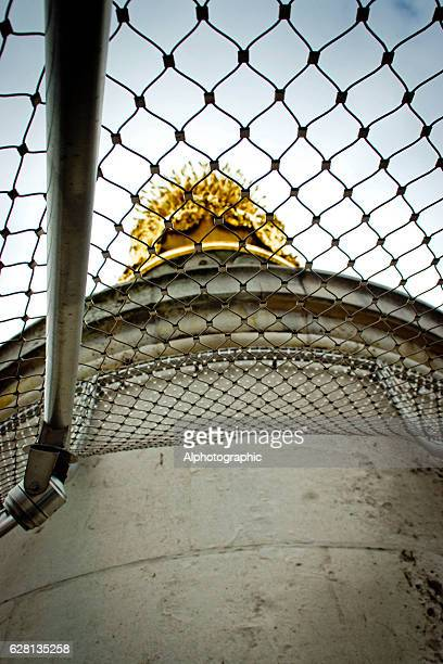 the top of the monument column in london - monument station london stock photos and pictures