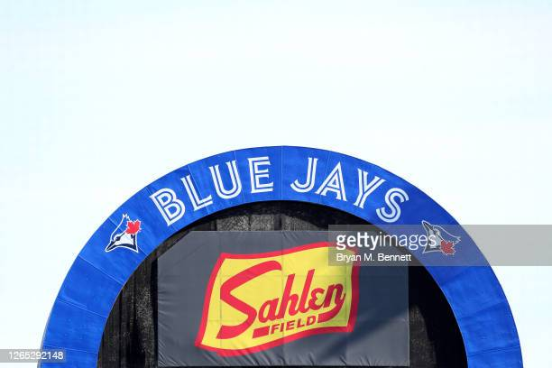 The top of the scoreboard is pictured before a game between the Miami Marlins and Toronto Blue Jays at Sahlen Field on August 11, 2020 in Buffalo,...