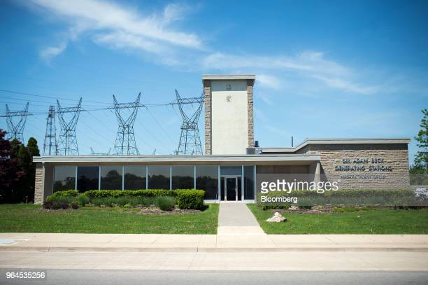 The top offices and control center stands at the Ontario Power Generation Inc. Sir Adam Beck Generating Station along the Niagara River in Niagara...