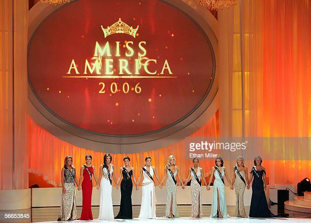 The top ten finalists in the 2006 Miss America Pageant hold hands on stage at the Aladdin Theatre for the Performing Arts January 21 2006 in Las...