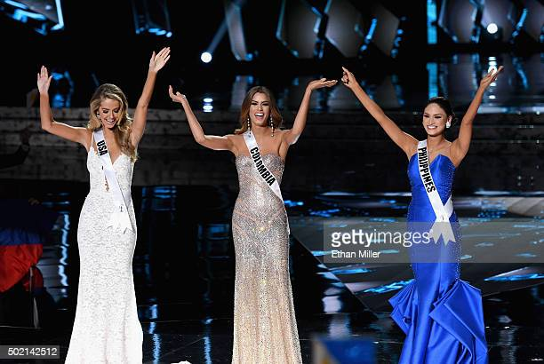 The top three finalists Miss USA 2015 Olivia Jordan Miss Colombia 2015 Ariadna Gutierrez Arevalo and Miss Philippines 2015 Pia Alonzo Wurtzbach stand...