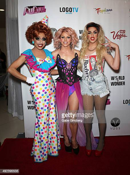 The top three finalists of season six of RuPaul's Drag Race Bianca Del Rio Courtney Act and Adore Delano arrive at a viewing party for the show's...