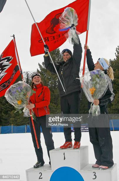 The top three finishers in the Women's 15k classic celebrate during the Men's and Women's Skiing Championships held at Bohart Ranch Cross Country Ski...