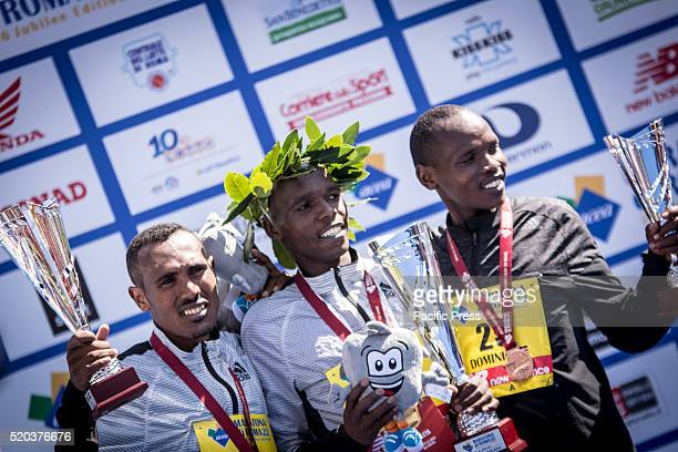 The top three finishers of the Rome Marathon 2016 The winners of the marathon in Rome 2016 Kenyan Amos Kipruto was the first to cross the finish line...