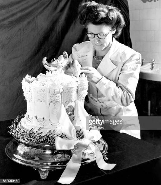 The top tier of Princess Elizabeth wedding cake is being used for the official cake for the Royal Christening McVitie Price who made the wedding cake...