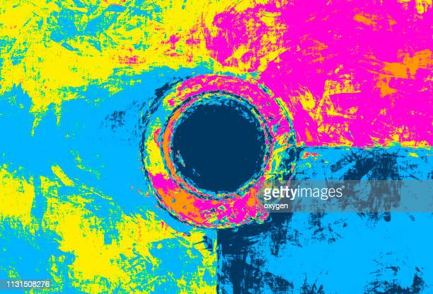 the top view of abstract paint with cup of coffee - pop art stock pictures, royalty-free photos & images