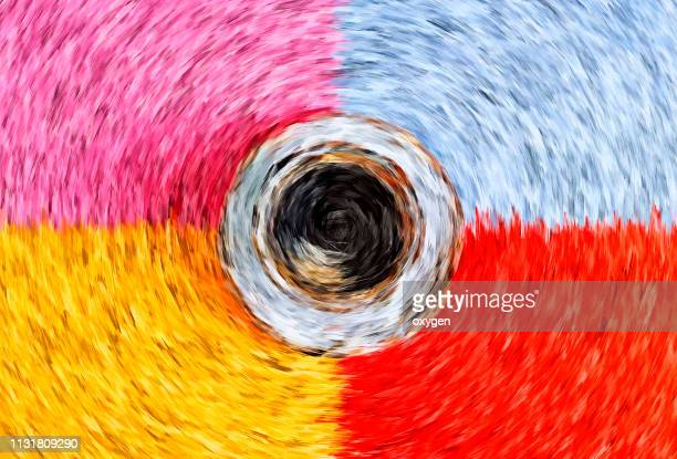 the top view of abstract paint with cup of coffee, van gogh style - impressionism stock photos and pictures