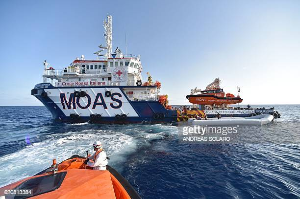 The Topaz Responder ship run by Maltese NGO Moas and the Italian Red Cross takes part in a rescue operation of migrants and refugees on November 3...