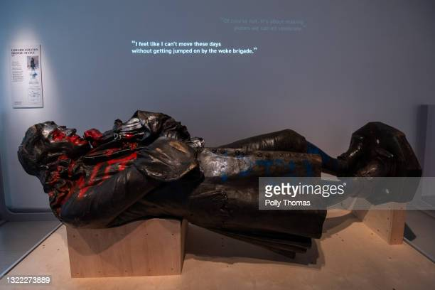 The toppled statue of Edward Colston lies on display in M Shed museum on June 7, 2021 in Bristol, England. The controversial bronze statue of 17th...