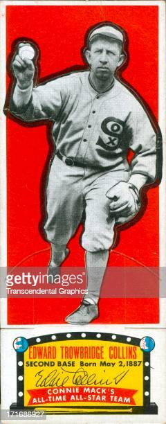 The Topps Chewing Gum company issues a set of all time great cards among which is this example with Eddie Collins printed in 1951 in Brookly NY