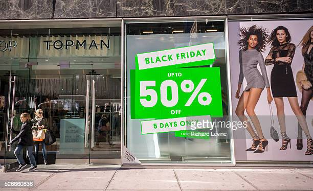 The Topshop Topman store in New York promotes its Black Friday deals over the Black Friday weekend. The National Retail Federation reported that many...