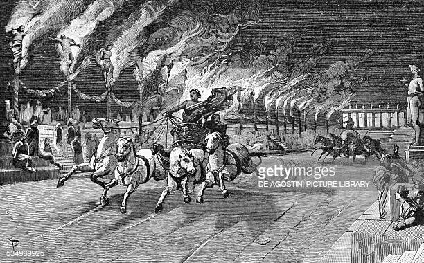 The torches of Nero the martyrdom of Christians from the History of Italy by Francesco Bertolini illustration by Ludovico Pogliaghi Milan Italy 1890...
