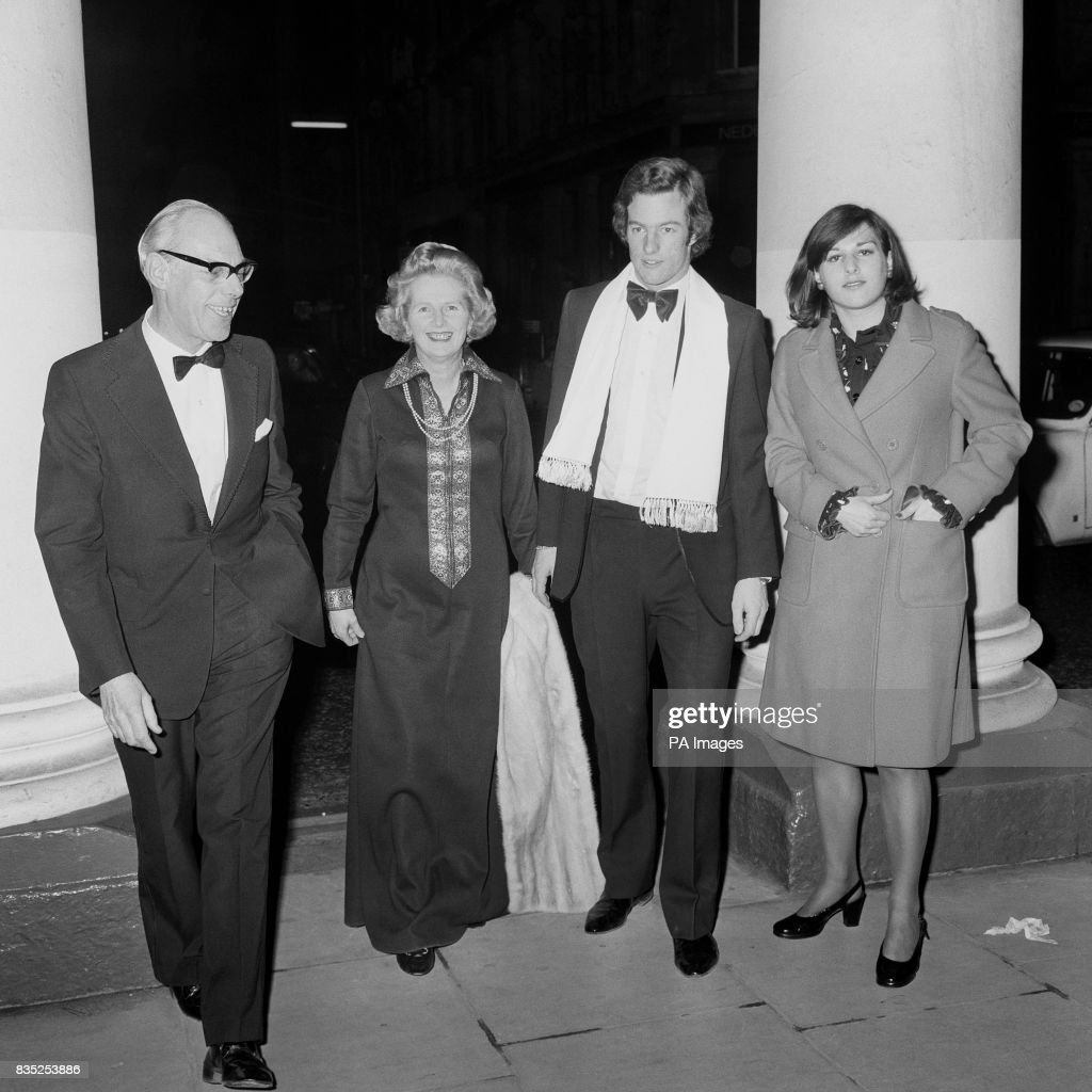 The Tories leader Margaret Thatcher at the Haymarket Theatre with her husband Dennis and their 21 year old twins Mark and Carol Jane.