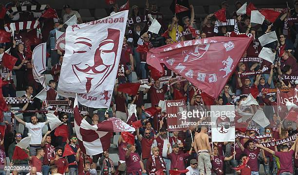 The Torino FC fans show their support before the Serie A match between Torino FC and Atalanta BC at Stadio Olimpico di Torino on April 10 2016 in...