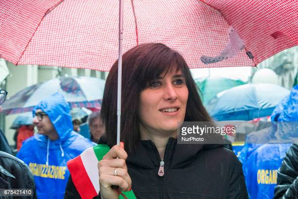 The Torino's mayor Chiara Appendino of Movimento 5 Stelle leading the Workers Day parade in Turino Italy on 1st May 2017