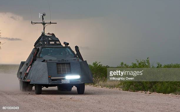 The Tornado Intercept Vehicle as used by IMAX film maker Sean Casey intercepting a severe thunderstorm in West Texas