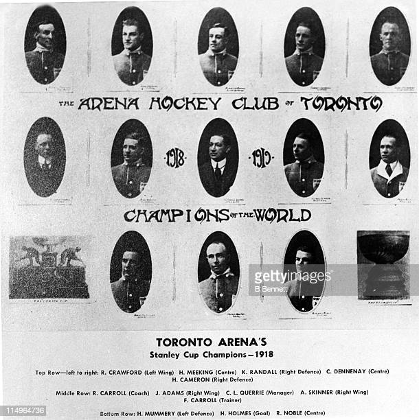 The Toronto Arenas team pose for a portrait in the 191819 season after they won the Stanley Cup The players are from LR top row Rusty Crawford Harry...