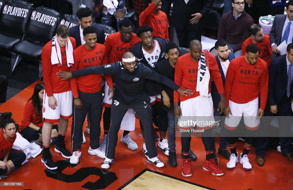 Toronto Raptors win game five of their first round of the NBA playoffs against the Washington Wizards 108-98 : News Photo