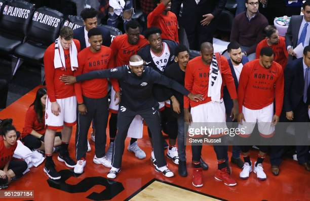 TORONTO ON APRIL 25 The Toronto bench holds back as the team takes the lead as the Toronto Raptors win game five of their first round of the NBA...
