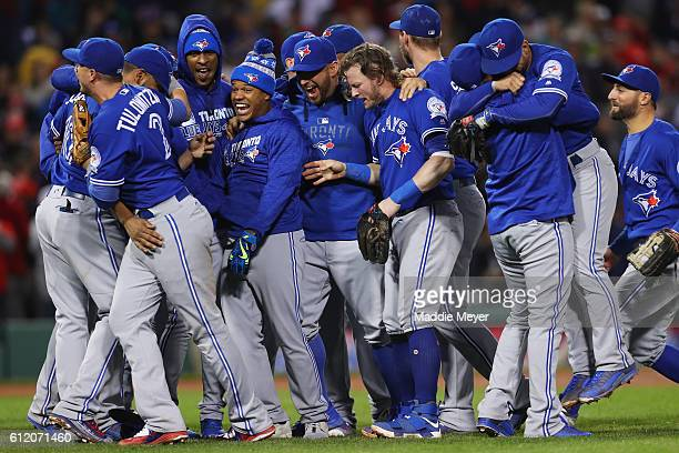The Toronto Blue Jays celebrate clinching a Wildcard spot in the playoffs after their 21 win over the Boston Red Sox at Fenway Park on October 2 2016...