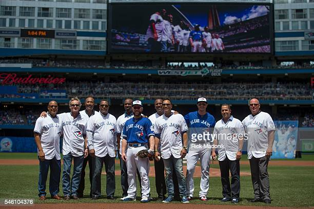The Toronto Blue Jays honoured some past player before today's game From left Otto Valez Kelly Gruber Cito Gaston George Bell Devon White Russell...