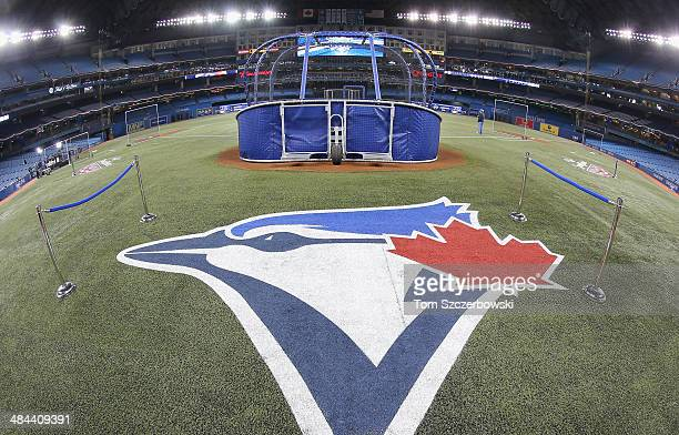 The Toronto Blue Jays logo painted on the field during batting practice before the Toronto Blue Jays home opener prior to the start of their MLB game...