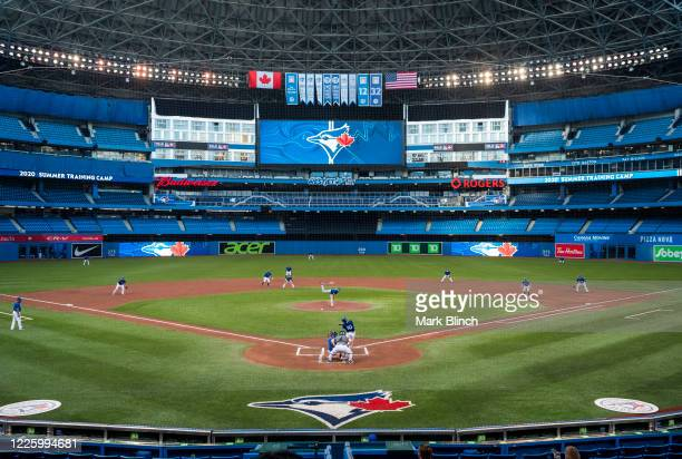 The Toronto Blue Jays play an intrasquad game at Rogers Centre on July 9 2020 in Toronto Canada