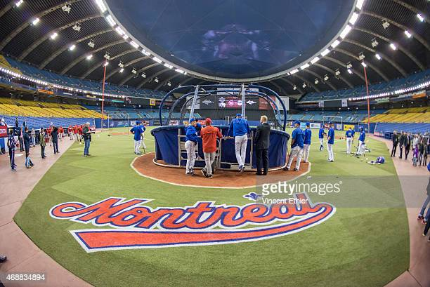 The Toronto Blue Jays take batting practice prior to the exhibition game against the Cincinnati Reds at Olympic Stadium on Friday April 3 2015 in...