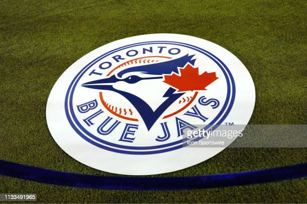 The Toronto Blue Jays team logo as seen on the ondeck circle before the Season Opener MLB game between the Detroit Tigers and Toronto Blue Jays on...