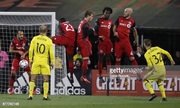 COLUMBUS OH NOVEMBER 21 The Toronto FC wall Toronto FC midfielder Victor Vazquez Chris Mavinga Nicolas Hasler Tosaint Ricketts and Michael Bradley...