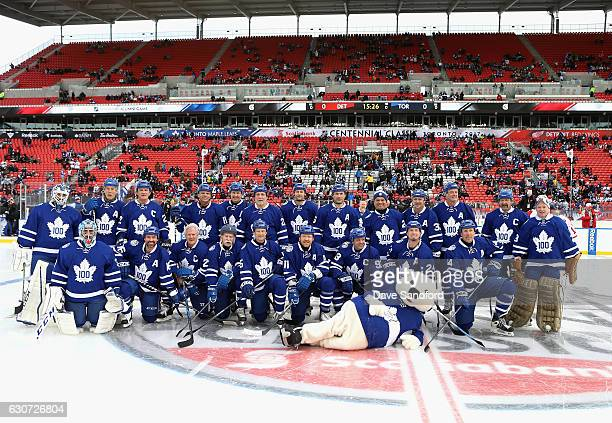 The Toronto Maple Leafs alumni pose together for a team group picture before playing in the 2017 Rogers NHL Centennial Classic Alumni Game against...