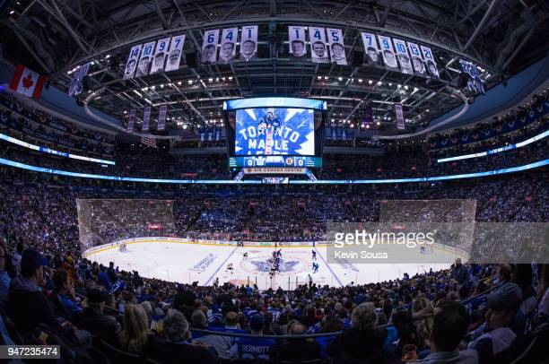 The Toronto Maple Leafs and the Boston Bruins face off to begin Game Three of the Eastern Conference First Round during the 2018 NHL Stanley Cup...