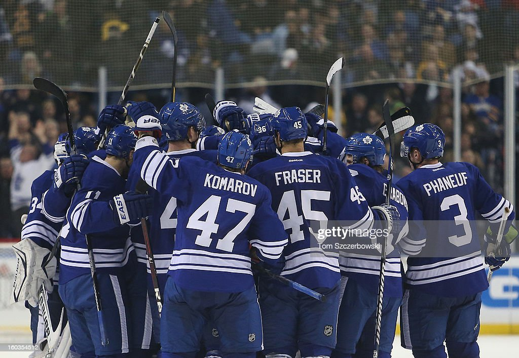 The Toronto Maple Leafs celebrate the game-winning goal in overtime by Matt Frattin in NHL action against the Buffalo Sabres at First Niagara Center on January 29, 2013 in Buffalo, New York.