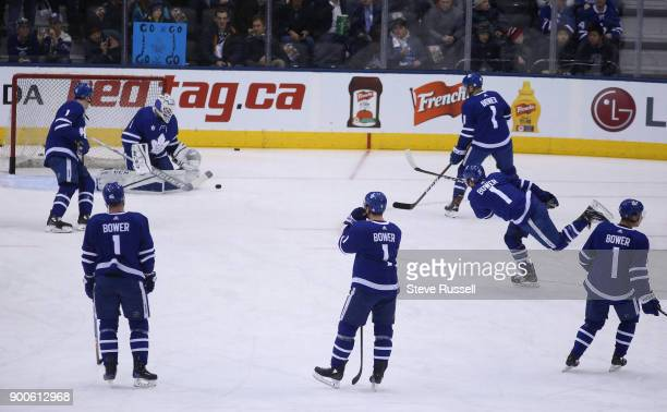 TORONTO ON JANUARY 2 The Toronto Maple Leafs honour team legend Johnny Bower who passed away last week by all wearing his jersey for pregame warmup...