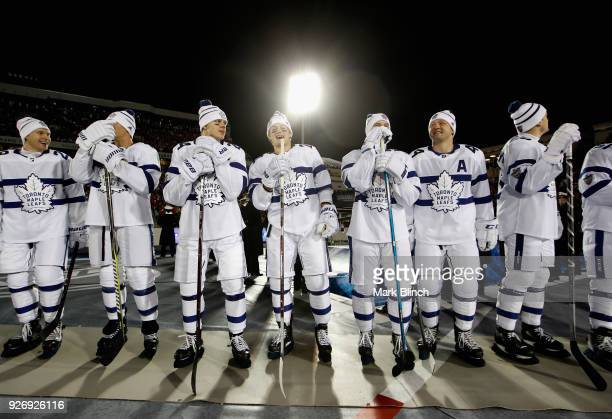 The Toronto Maple Leafs line up on the ice before playing in the 2018 Coors Light NHL Stadium Series against the Washington Capitals at the...
