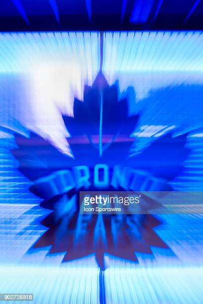The Toronto Maple Leafs logo outside the team dressing room is zoomed intentionally by the photographer as an abstract graphic before the regular...