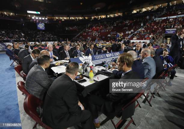 The Toronto Maple Leafs management attend the 2019 NHL Draft at the Rogers Arena on June 22 2019 in Vancouver Canada