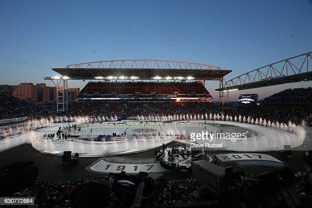The Toronto Maple Leafs play the Detroit Red Wings alumni in the Centennial Classic at Exhibition Stadium in Toronto. January 1, 2017.