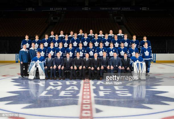 The Toronto Maple Leafs pose for their official 20162017 team photo at the Air Canada Centre on April 25 2017 in Toronto Ontario Canada