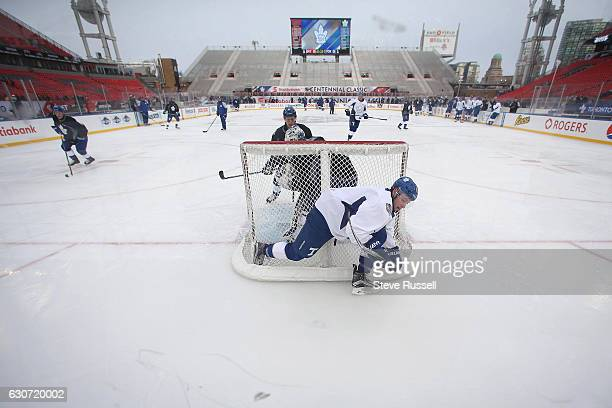 The Toronto Maple Leafs practice on the eve of the Centennial Practice at Exhibition Stadium in Toronto. December 31, 2016.