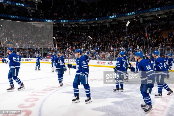 The Toronto Maple Leafs salute the crowd after defeating the New Jersey Devils at the Scotiabank Arena on January 14 2020 in Toronto Ontario Canada