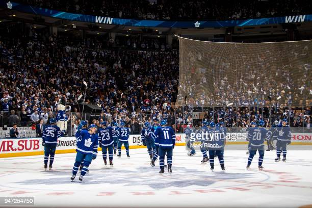 The Toronto Maple Leafs salute the fans after defeating the Boston Bruins in Game Three of the Eastern Conference First Round during the 2018 NHL...